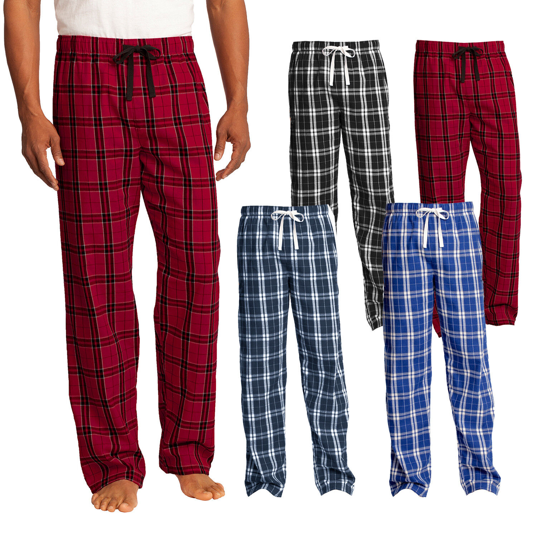 Izod Mens Cotton Woven Plaid Elastic Waistband Sleep Lounge Pajama Pant