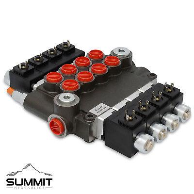 Hydraulic Monoblock Solenoid Directional Control Valve 4 Spool 21 Gpm 12v Dc