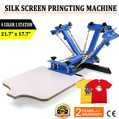 4 Color 1 Station Silk Screen Printing Machine Equipment T-shirt Press Kit Diy