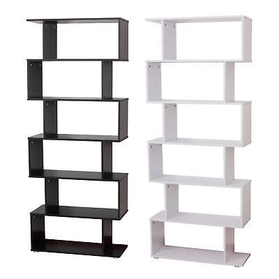 HOMCOM-Libreria di Design in Pannelli di Particelle Ufficio Scaffale Bianco/Nero
