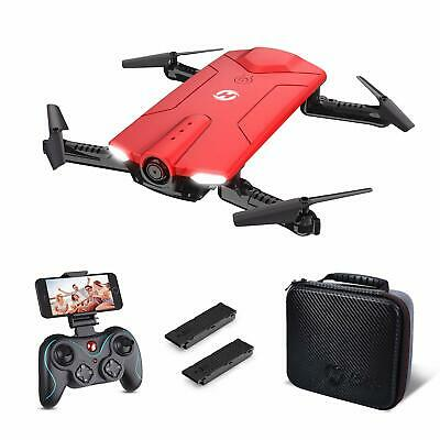 Holy Stone HS160 foldable drone with camera FPV RC quadcopter 2 batteries LED