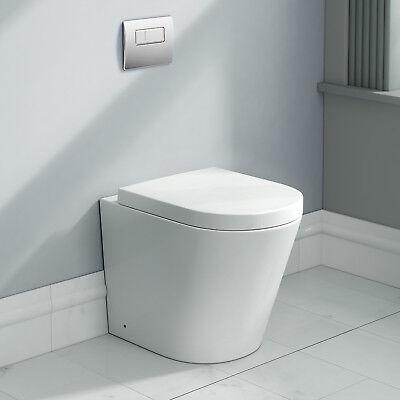 Modern Designer Ceramic White Back To Wall Toilet Bathroom WC Pan Seat CT632BTW