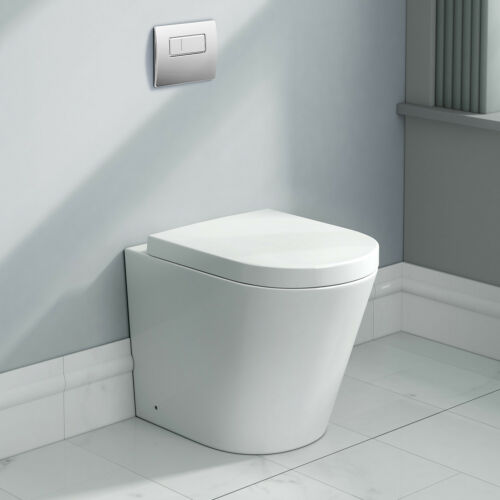 Modern Designer Ceramic White Back To Wall Toilet Bathroom WC Pan Seat CT632BTW