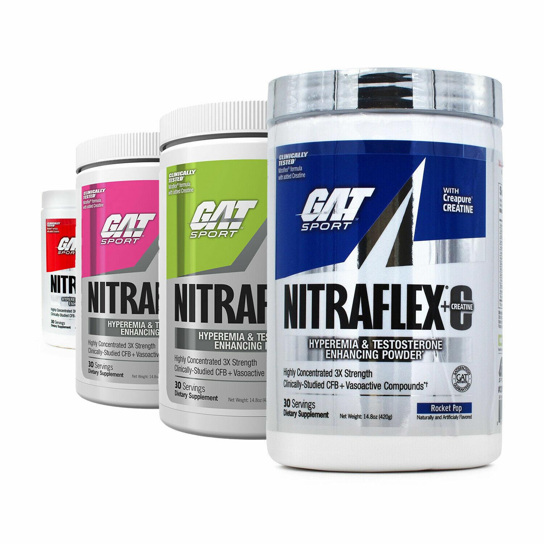 NEW GAT Nitraflex + C (Creatine) Pre Workout 30 servings 300g Testosterone Boost