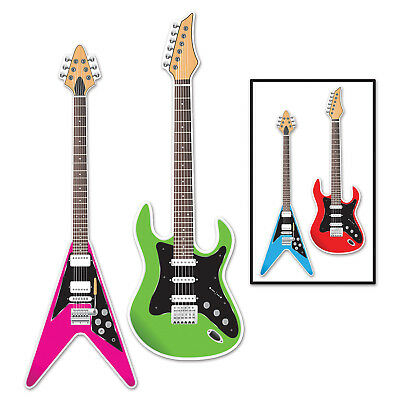 Electric Guitar Decorations (ELECTRIC GUITAR Card stock Cutouts For Hanging Or Wall Decor Rock Band Music)