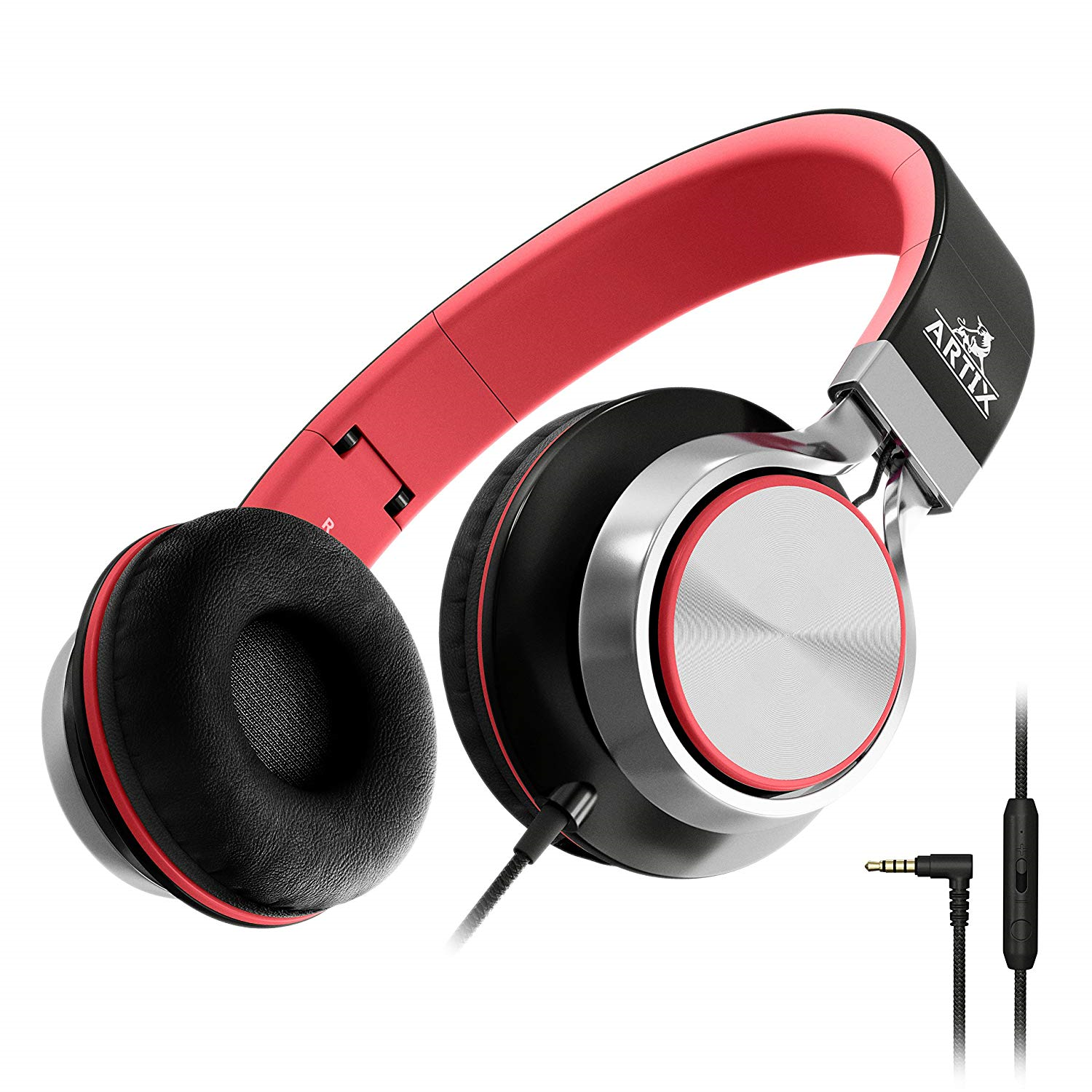 Foldable Headphones with Microphone and Volume Control, On-E