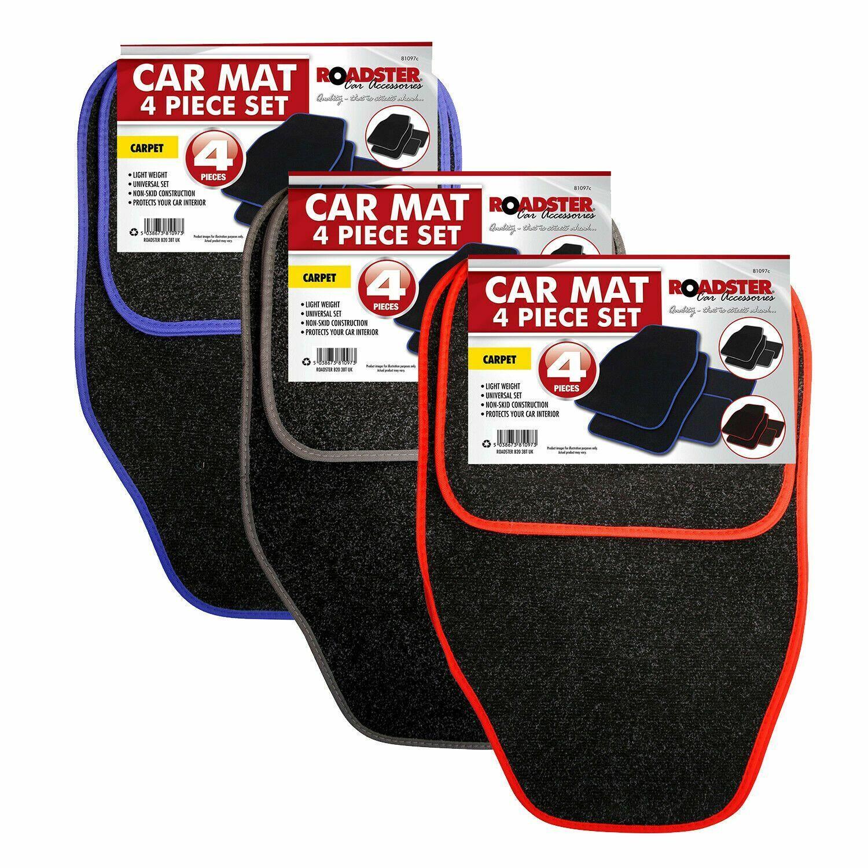Roadster 4pce Universal Car Mat Set Carpet Non-Slip Front Rear Floor Premium Van