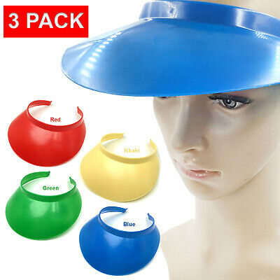 3 PACK Tennis Beach Colored Plastic Sun Bingo Vegas Dealer Golf Casino Visor Hat