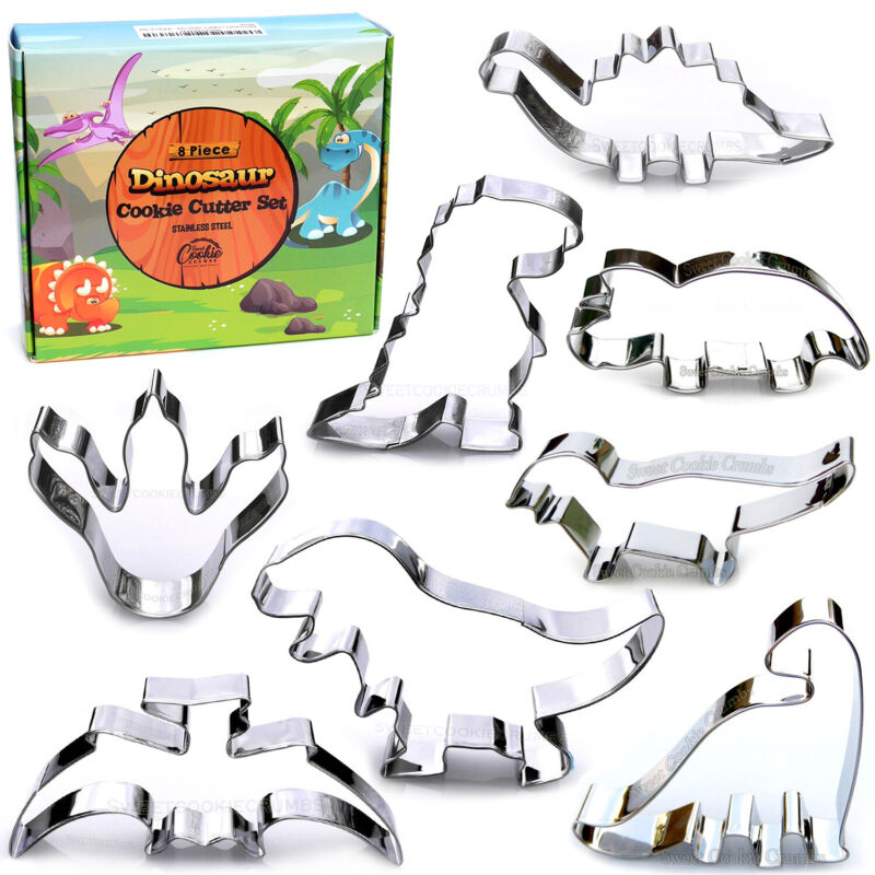 Dinosaur Cookie Cutter Set, 8 Piece, Stainless Steel