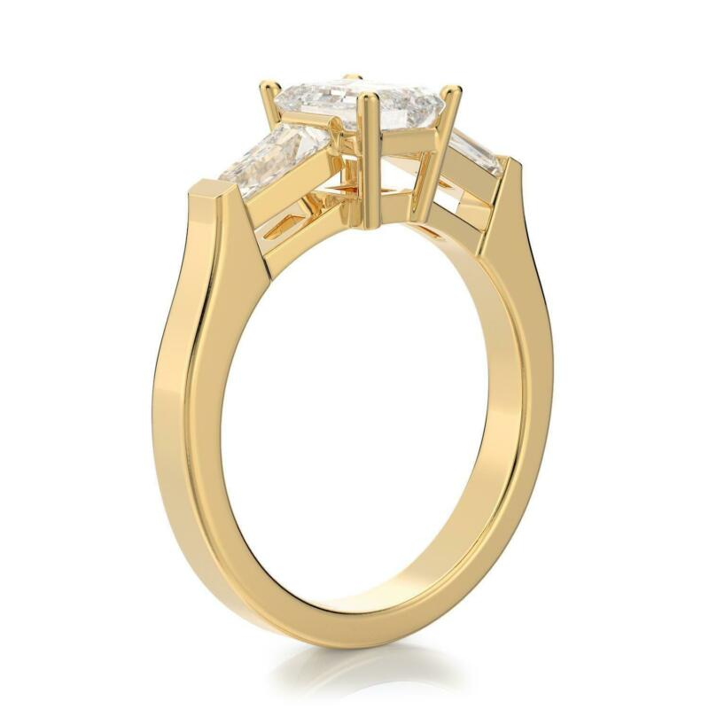 1.50 Ct F Si1 Emerald Solitaire Diamond Engagement Ring 14k Yellow Gold