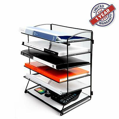 Desk Top File Organizer 6 Tier Metal Trays Holder Rack Storage Folder Holder