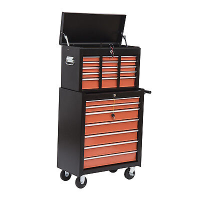 HOMCOM 2-tier Tool Storage Chest Cabinet Rolling Cart Garage Toolbox w/16 Drawer
