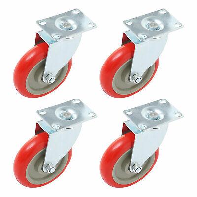 4 Pack 5 Inch Caster Wheels Swivel Plate On Red Polyurethane Heavy Duty Wheels