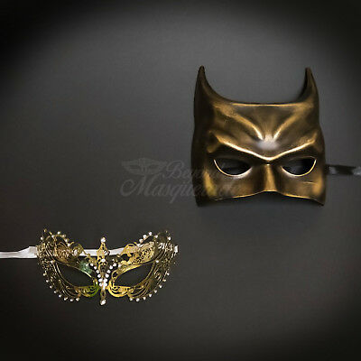 His & Her Couples Masquerade Mask Gold Themed Phantom Mask [Clear Rhinestones] - Masquerade Themes