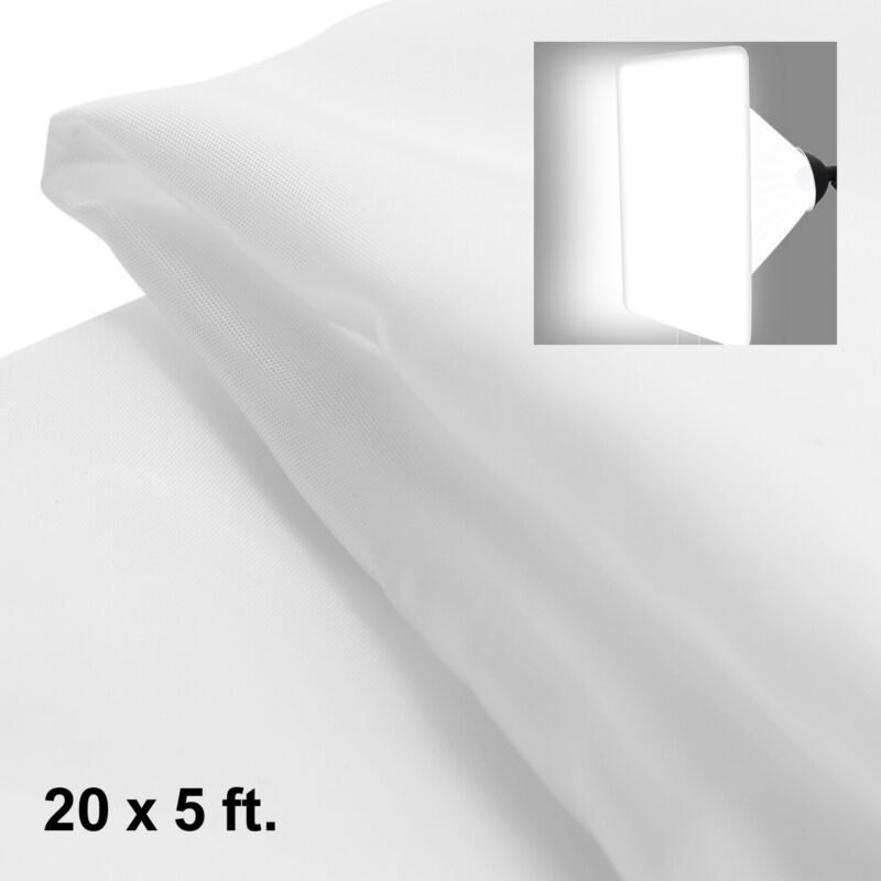 20 x 5 ft. White Diffusion Fabric for Photography Softbox Light Tent, Nylon Silk