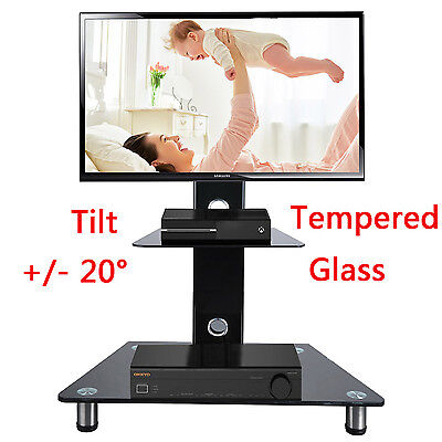 "Black Gloss Glass TV Stand With Bracket Cabinet For 30""-50"" 42 46 LCD LED Plasma"