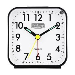 Peakeep Small Battery Operated Analog Travel Alarm Clock Silent No Ticking Li...