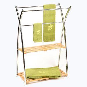 porte serviette en bambou avec 2 tag res support seche. Black Bedroom Furniture Sets. Home Design Ideas