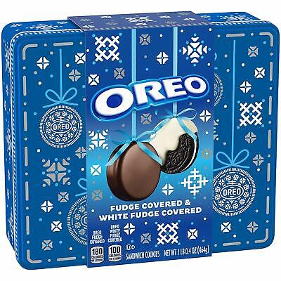 OREO Fudge AND White Fudge Covered Chocolate Sandwich Cookie In gift tin Box Chocolate Fudge Cookies
