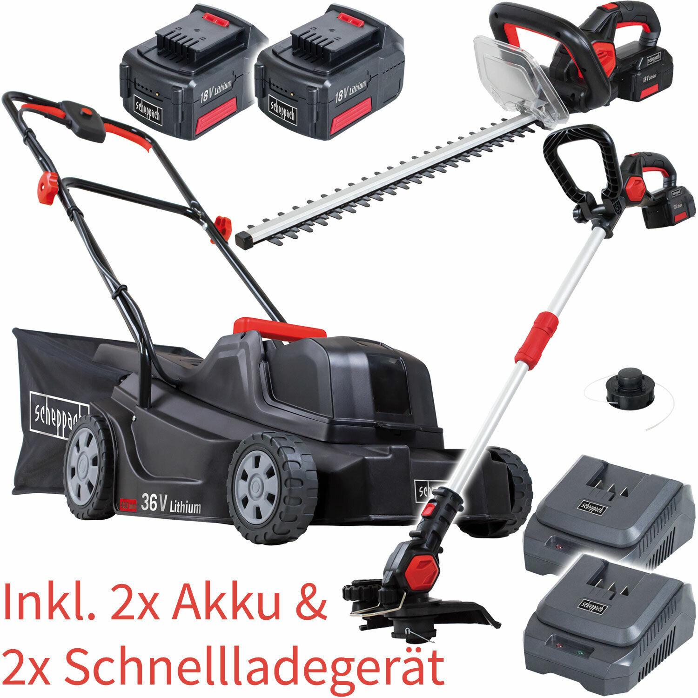 Scheppach AKKU Garten Set System Rasenmäher Heckenschere Rasentrimmer 2x 18V 4Ah