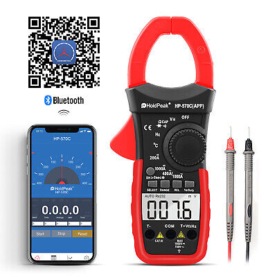 Holdpeak Digital Clamp Meter Multimeter Auto Range Diode Phone App Acdc Volt