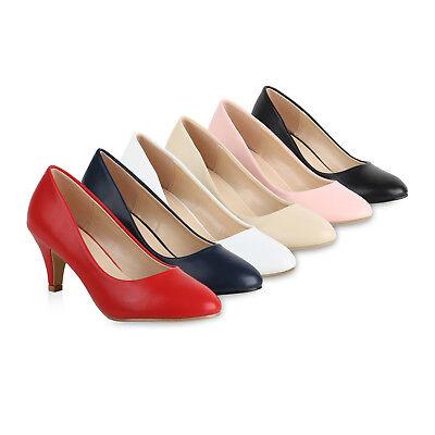 Klassische Damen Pumps Basic Leder-Optik Schuhe Stiletto Mid Heels 820562 Schuhe Stiletto Pumps Schuhe