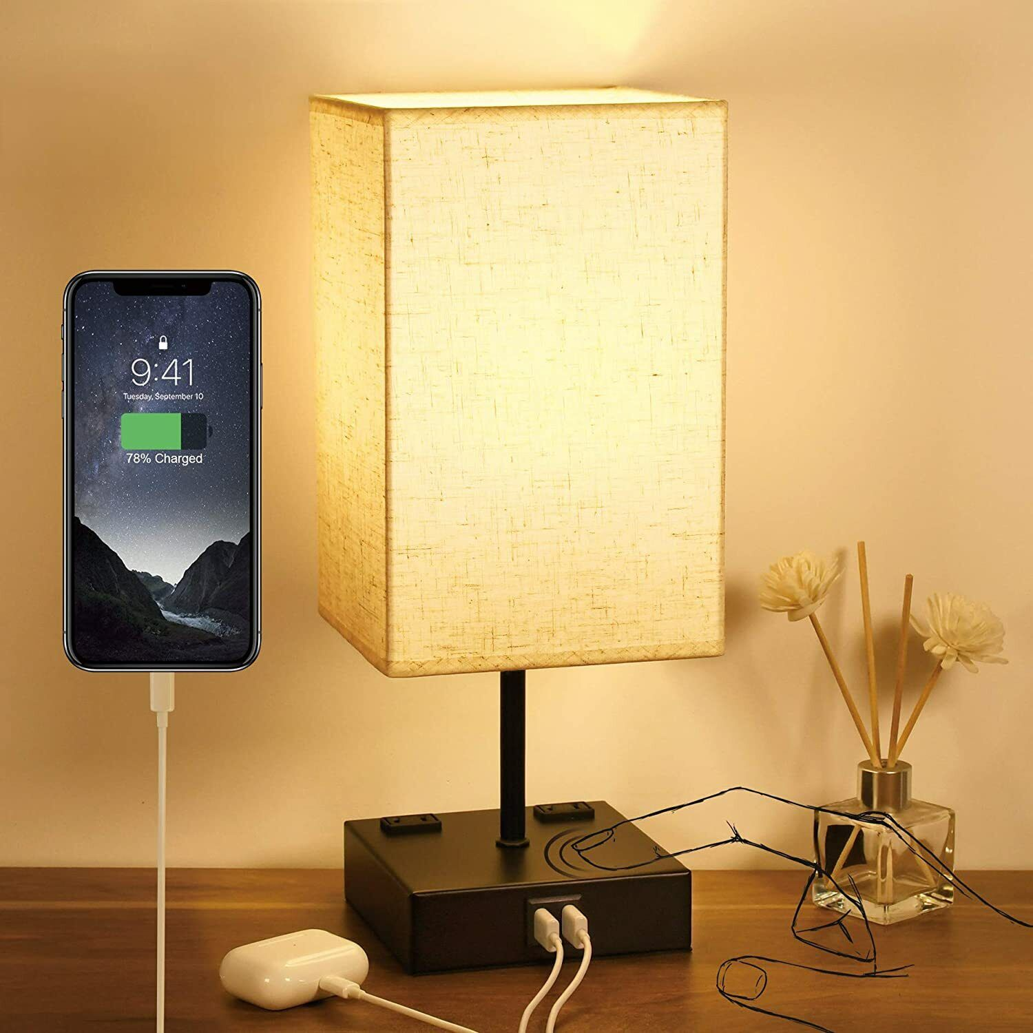 3-Way Touch Control Table Lamp Dimmable, Bedside Lamp with 2
