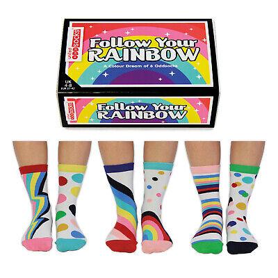 Socken Folge dem Regenbogen Oddsocks in 37-42 Strümpfe Frauen bunt im 6er Set