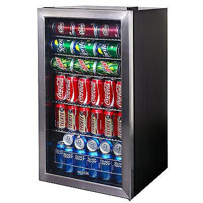 Small Beverage Cooler 126 Can Fridge Home Bar Wine Beer Soda Drink Chiller Unit