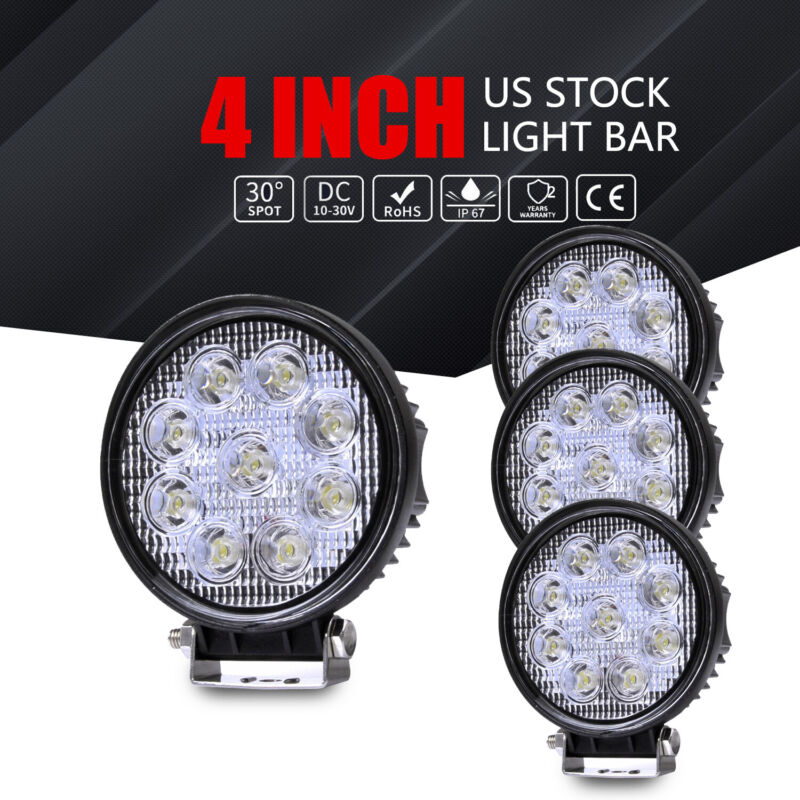 4x 4inch 108W Round LED Work Lights Pods FLOOD Offroad Truck SUV Fog Driving 12V