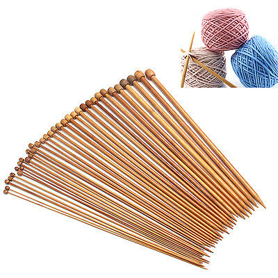 36Pcs 18 Sizes Carbonized Bamboo Knitting Needles Single Pointed Smooth Crochet
