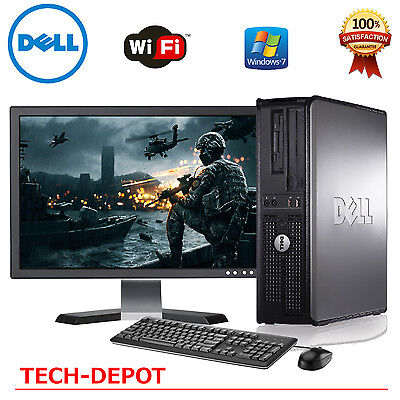 Fast Dell Windows 10 Desktop Computer Core 2 Duo 4Gb Ram Dvd Wifi 19  Lcd
