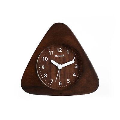 Non Ticking Analog Quartz Wood Alarm Clock with light Snooze Ascending Sound