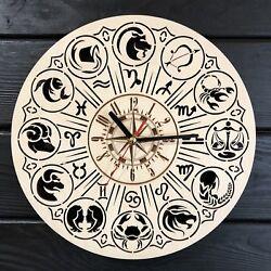 ZODIAC Modern Unique Wooden Wall Clock Wall Art Silent Wall Clock CL-0358