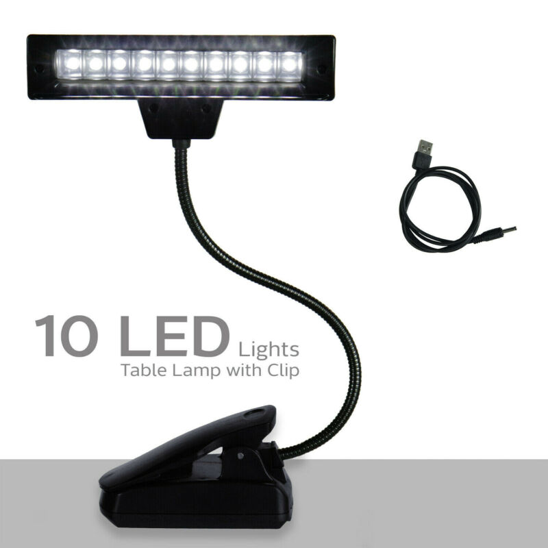 Goose Neck 10 LED Light Lamp with Clip for Bed Table Desk Computer Reading