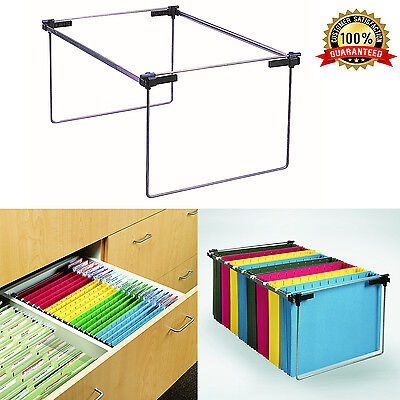 Cabinet Drawer Organizer File Folder Holder Hanging Stand Heavy Rail Metal Desk