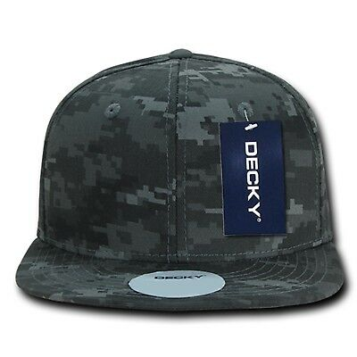 (Gray Camo Fitted Flat Bill Camouflage Cotton Baseball Ball Cap Hat - 9 SIZES)