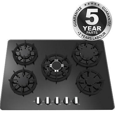 SIA R8 70cm 5 Burner Gas On Glass Hob In Black With LPG Kit, FFD & Wok Burner