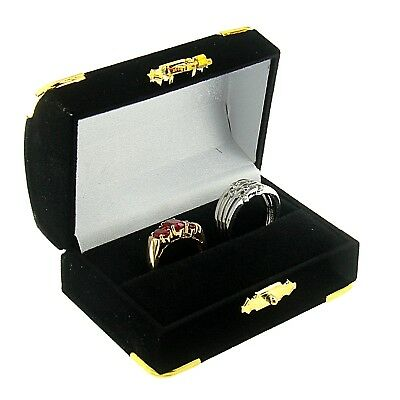 Black Velvet Double Ring Box Display Jewelry Gift Box Treasure Chest Velour (Treasure Chest Gift Box)