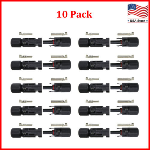 10 Pairs NEW Male Female M/F Wire Cable Connector Set Solar Panel 30A Waterproof