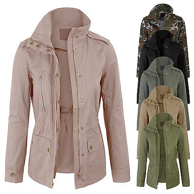 Women's Zip Up Military Anorak Safari Jacket with Pockets Coats S-3X