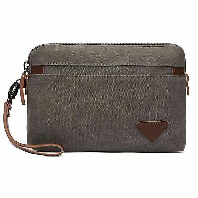 Bag Clutch Handbag Wristlet - Canvas Wristlet Bag Large Clutch Wallet Purse Zipper Pouch Handbag Organizer