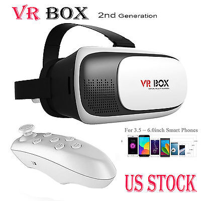 3D Glasses VR Box Headset Google Cardboard Virtual Reality +Bluetooth Control US - 3 D Glasses