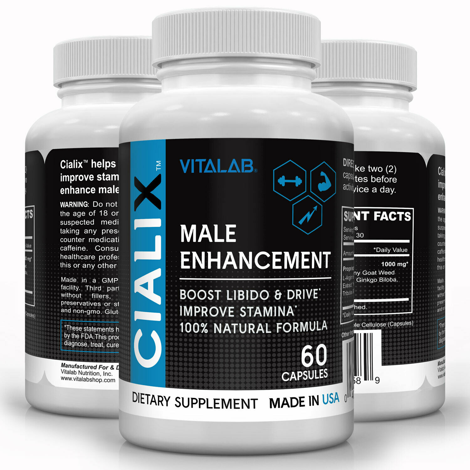 Cialix Male Enhancement Pills Bigger Libido Performance Boost Drive Stamina 60ct 4