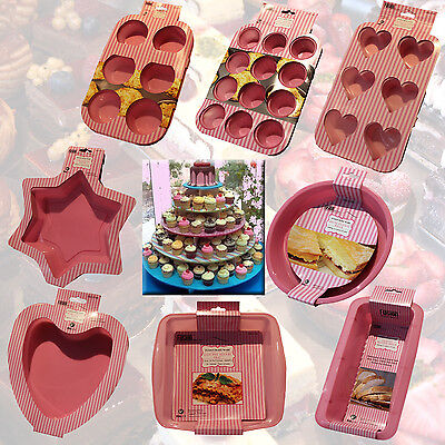 Silicone Baking Tin Bakeware Pink Mould Pan Kitchen Cooking Bread Cake Loaf Food