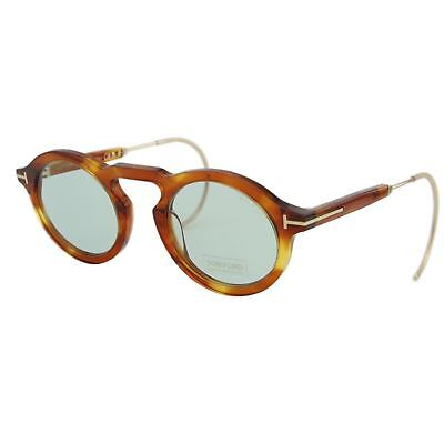 Tom Ford Grant-02 FT632  53A Light Havana & Gold  T Logo Round Pantos Sunglasses
