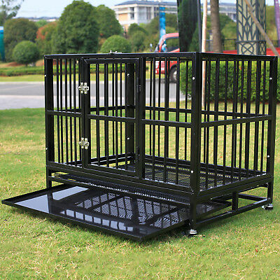 """37"""" Folding Dog Cage Crate Kennel Pet Playpen House Enclosure Portable w/Tray"""