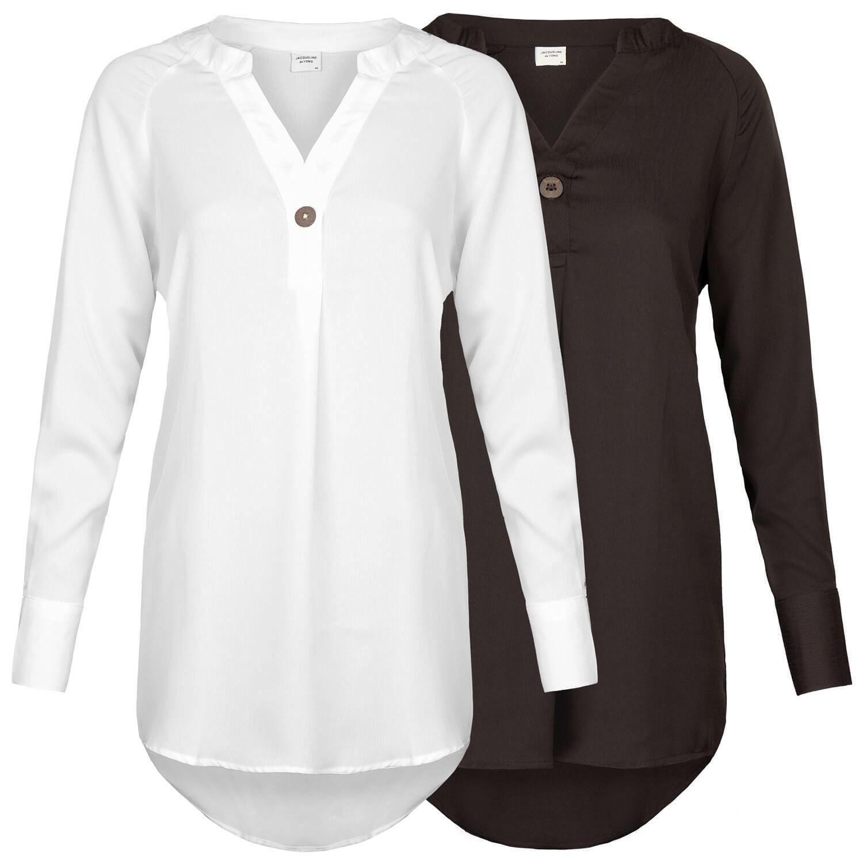 JACQUELINE de YONG Damen Tunika Bluse Shirt Long Loose Fit Oversize ONLY chic