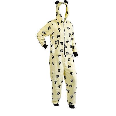 Slenderella Footless Jumpsuit Ladies Soft Fleece Tiger Dog Paw Print All In - Ladies Tiger Onesie