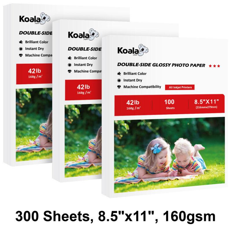 300 Sheets Koala 8.5x11 Premium Double Sided Glossy Inkjet Printer Photo Paper